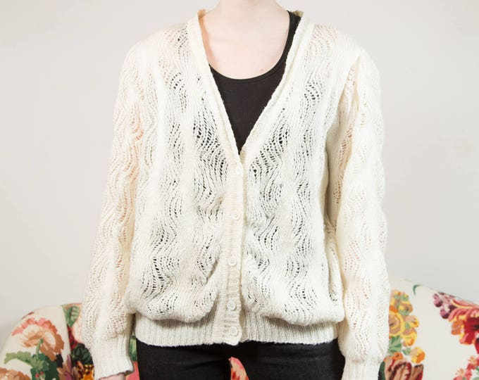 Vintage White Knit Cardigan Sweater - large Cream Wool Blend Winter Ladies Sweater with Loose Knit