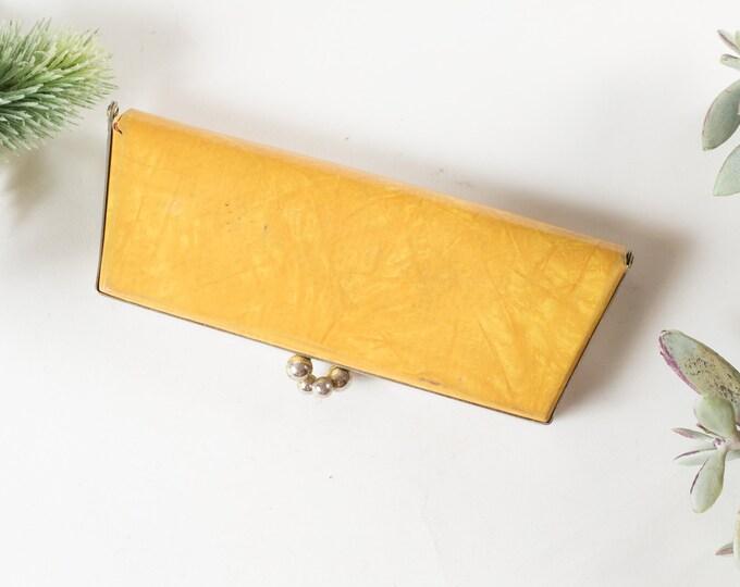 Vintage Glasses Case - Small Yellow Retro Eyeglasses Clutch - Snap Closure Metal Glamour Sunglasses Storage - Hollywood Regency