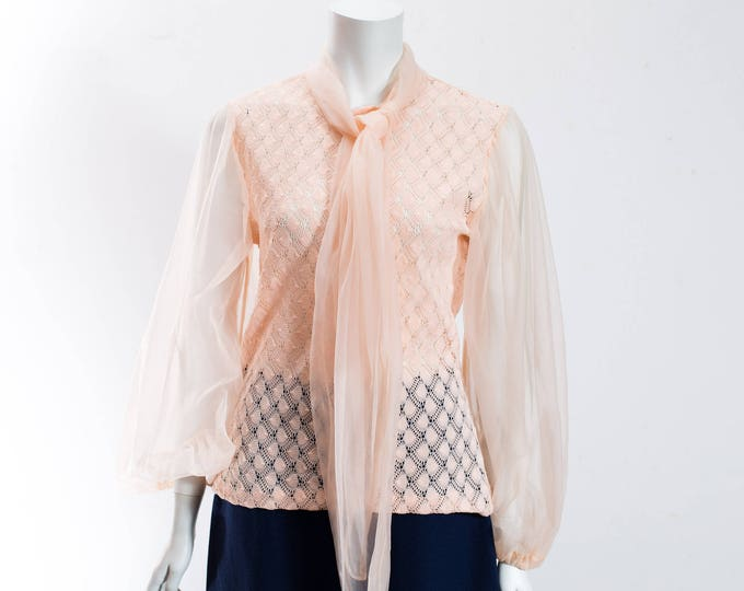 Vintage Peach Textured Top with Sheer Arms / Pastel Salmon Ladies Shirt with Zip Up Back and Roll Down Collar / Made in Canada / Size 18