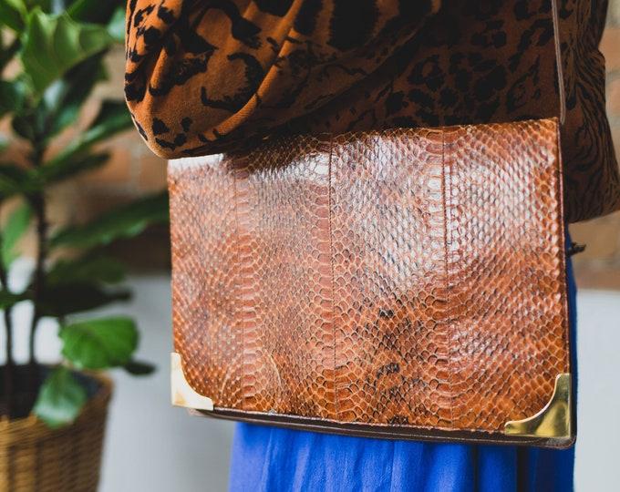Vintage Reptile Purse with Brass Corners - Vintage Snakeskin Handbag - Brown Leather Shoulder Bag with Scales