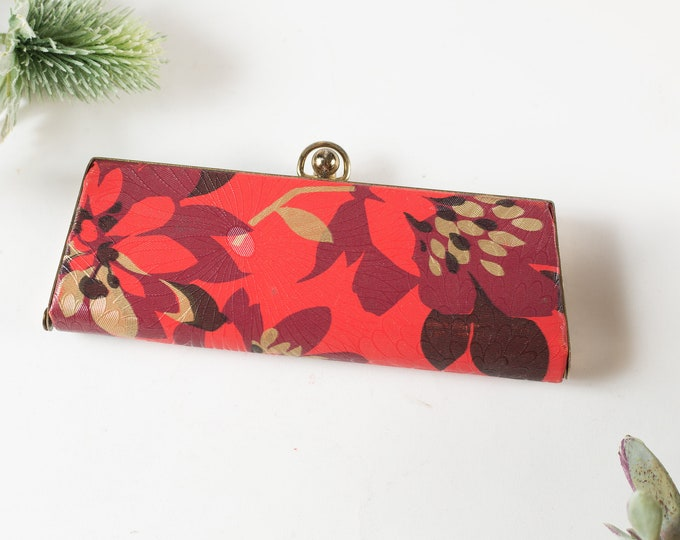 Vintage Glasses Case - Small Red Flowers Style Retro Eyeglasses Clutch - Snap Closure Metal Glamour Sunglasses Storage - Hollywood Regency