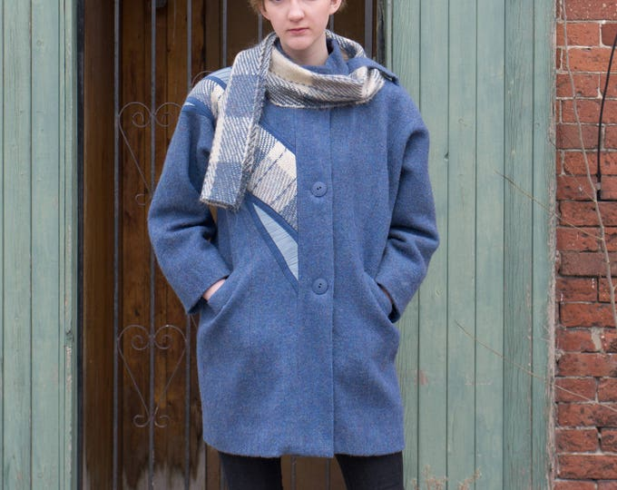 Vintage Blue Wool Coat with Plaid Scarf - Epsilon Jacket - Women's Ladies Button Up Coat - Made in Canada