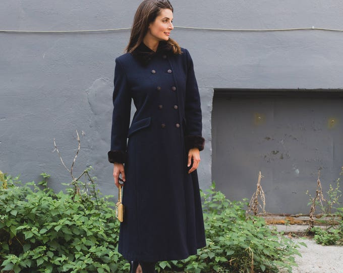 Vintage Blue Overcoat / Annex Pure Virgin Wool Jacket / Ladies or Women's Long Jacket with Faux Fur Cuffs and Collar