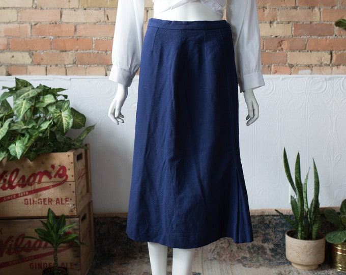 "Vintage Collegiate Blue Skirt - 28"" High Waisted Spring Summer Wool Skirt with Dark Blue Color"