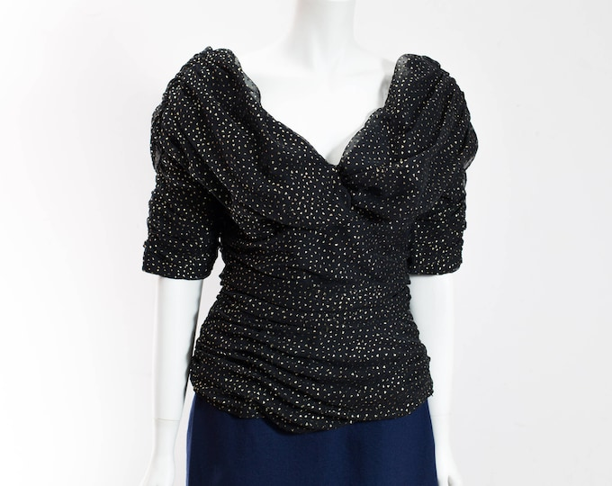 Vintage Puffy Blouse / Black Sheer Party Top with Metallic Gold Triangle Pattern / Morticia Addams Halloween Costume Ladies