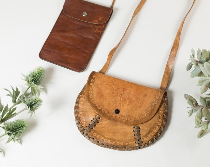 Vintage Tan Leather Shoulder Purse - Women's Cross body Bags - Hippie purse - Flower Child Bag -Mother's Day Gift