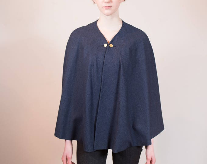 Vintage Blue Wool Cape or Poncho with Gold Button Clasp - Women's Ladies Shawl