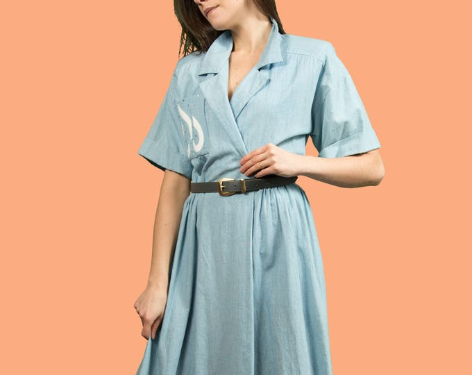 Vintage Blue Dress - Schoolteacher Button up Short Sleeve Dress with Leather Patchwork and Rhinestones - Made in Canada