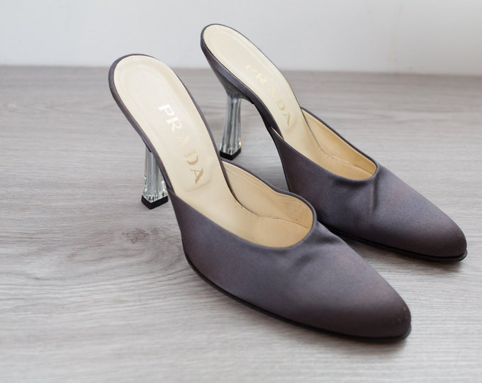 Prada Pumps - Size 38 (Size 7 U.S.A) Women's Grey Designer Pumps / Shoes