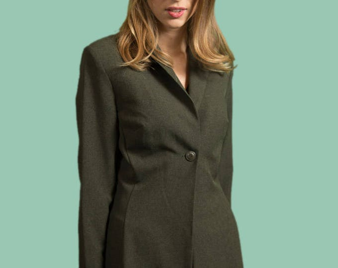 Vintage Green Jacket - Long Thin Small Polyester Robe Coat by C-I-T-Y