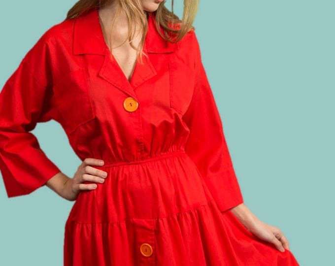 Vintage Red Dress - Size Small Bee Darlin' Bright Red Maxi Dress - Made in California