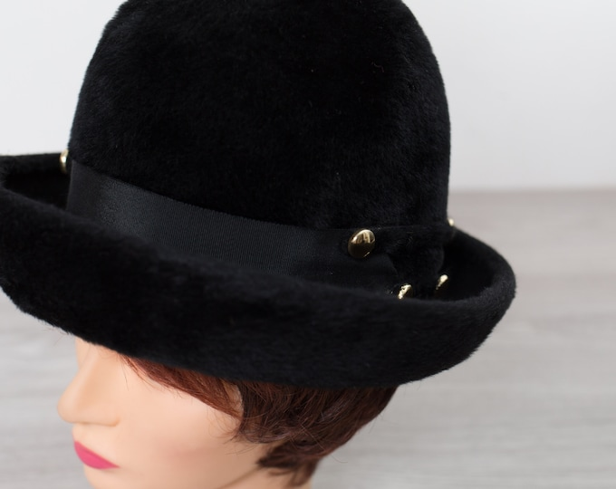 Vintage Black Fur Hat - Henri Original Beaver Fur Hat - Saturn Beaver by Fisher - Women's Ladies Upturned Brim Bretton Hat with Gold Studs