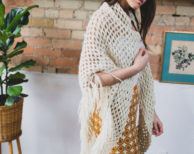 Vintage Cream Poncho - Hand Knit Fringed Crochet Poncho - Women's Ladies Shawl - Boho Hippie Music Festival Top