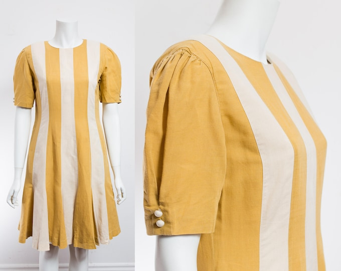 Vintage 70's Striped Dress / Mustard Yellow and White Circus Style Handmade Dress with Scoop neck and Pleated Skirt