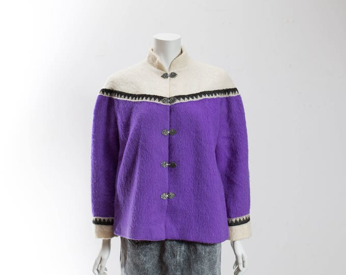 Vintage Nordic Sweater / Large Norwegian Scandinavian Purple and White Wool Knit / Myrjord Veveri, Woven in Norway / Colour Blocking Sweater