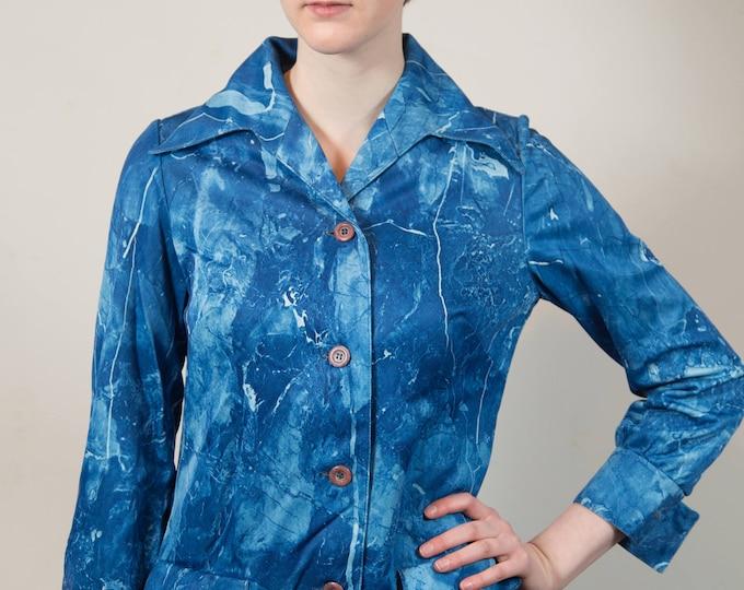 Vintage Blue Marbled Jacket - Medium Women's or Ladies Ocean Blue Sports coat - Made in Canada by Tanjay