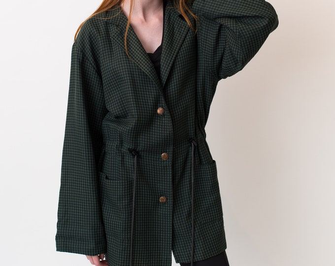 Vintage Green Checkered Jacket with Gold Buttons and Drawstring - Burberry Style Rain Coat -Forest Green Ladies or Women's Short Autumn Coat