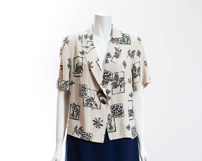 Vintage Safari Shirt / Cream and Black Linen Wildlife Cougar Print Short Sleeve Shirt / Made in Canada by Jolibel