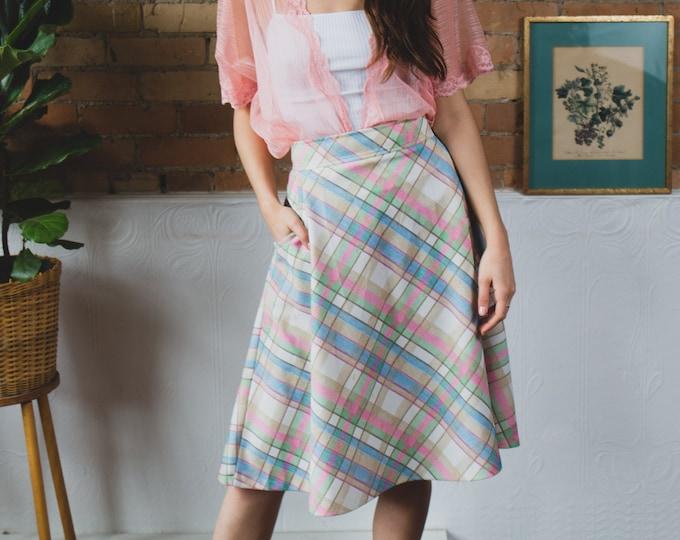 Vintage Plaid Skirt - High Waisted Polyester Pink, Blue and Green Skirt - Spring Summer Hippie Flower Child Music Festival Skirt