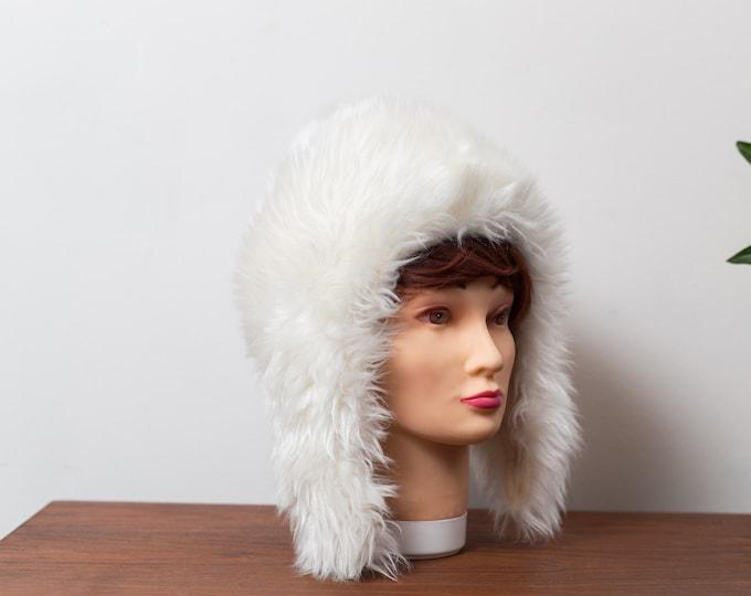 Vintage Ladies Faux White Fur Trapper Aviator Hat - Canadian Faux Polar Bear Women's Parka Hat - Winter Party Hat