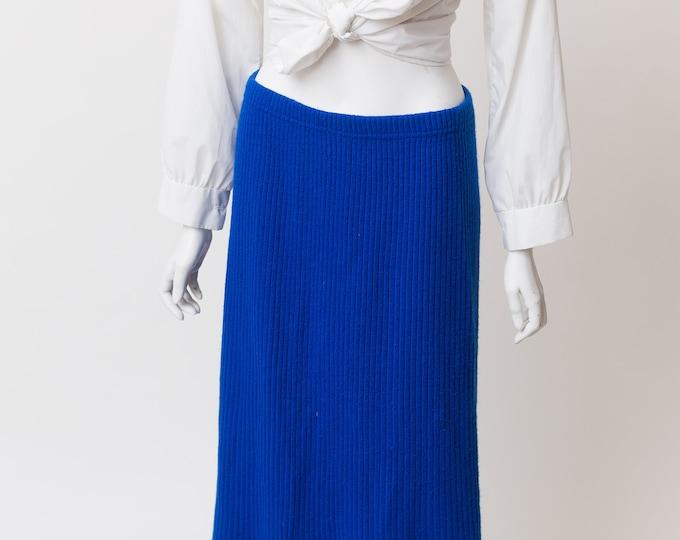 Vintage Blue Skirt - High Waisted Stretchy Acrylic Skirt - Royal Blue Spring or Summer Hippie Skirt