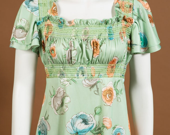 Vintage Green Dress - Mint Green Floral Shift Dress with Pleated Skirt and Boat Neck Cut with Flower Pattern