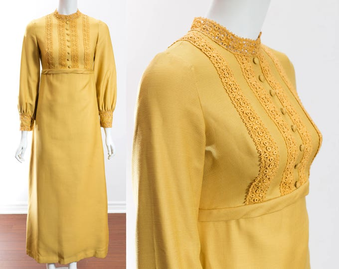 1950's Mustard Dress / Pale Saffron Yellow Vintage Gown with Lace Detailing / Syd Silver Designer from Toronto, Canada