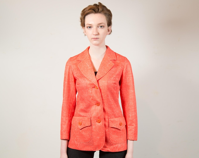 Vintage Coral Jacket - Medium Women's or Ladies Pink Sports coat Blazer - Made in Canada by Tanjay