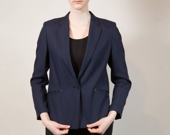 Vintage Blue Blazer - Small Women's or Ladies Dark Blue Sports coat - Made in Austria by Salko