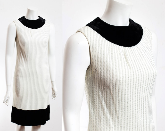 Vintage Party Dress / Shimmering White and Black Trim Evening Gown / Flapper Dress