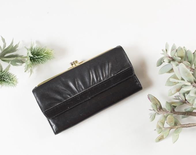 Vintage Black Clutch - Women's Leather Wallet - Renwick Steerhide Purse - Prom Purse -Mother's Day Gift