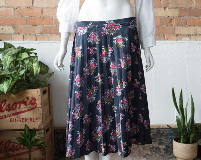 "Vintage Floral Skirt - 32-36"" High Waisted Spring Summer Wool Skirt with Dark Blue Floral pattern and Elastic Waist"