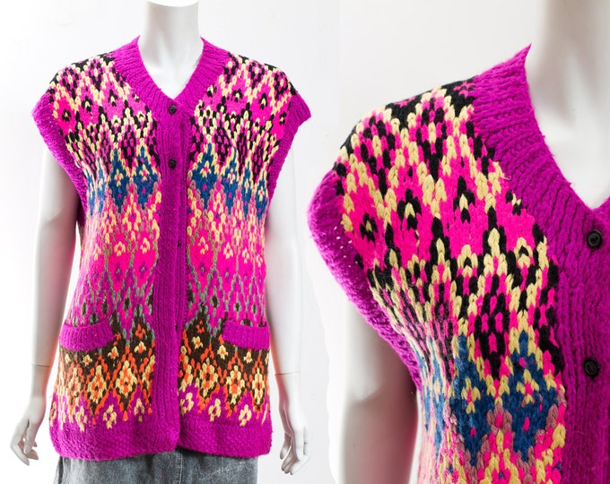 Handknit Sweater Vest /Vintage Bright and Bold Colourful Rainbow Hand Knitted Hippie Sweater with Geometric Pattern