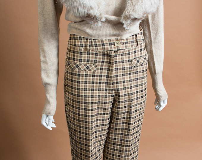 "Vintage Plaid Pants - 28"" Waist Women's Brown and Beige Checkered Trousers"