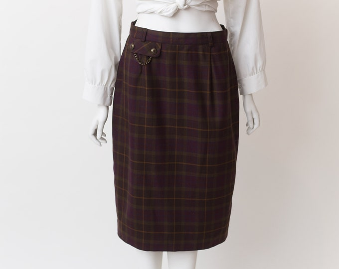 "Vintage Tartan Kilt - 28"" Waist Burgundy Plaid Checkered Wool Skirt by Proportion - Spring Summer Scottish UK Skirt"