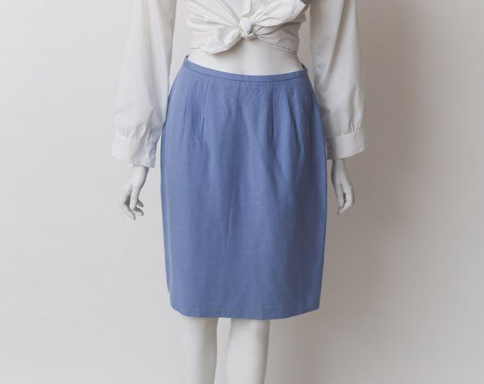 Vintage Blue Skirt - Formal Office Rayon Skirt - Soft Pastel Blue Spring or Summer Solid Simple Skirt