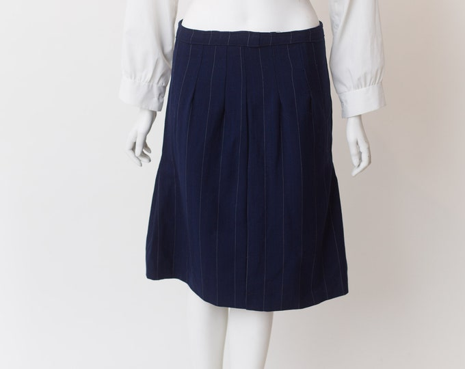 Vintage Blue Skirt - Medium Size Polyester Skirt - Blue Spring or Summer Hippie Office Casual Skirt