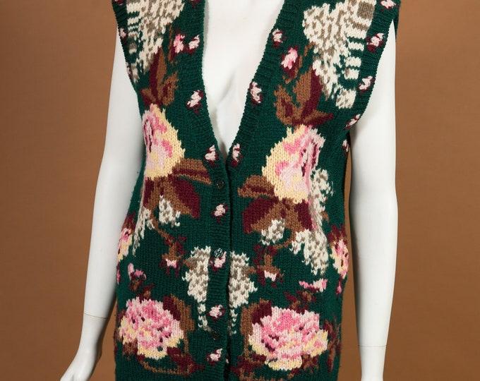 Vintage Knit Vest - Green Hand-knit Long Vest with Floral Pattern - Boho Hippie Flower Child Vest