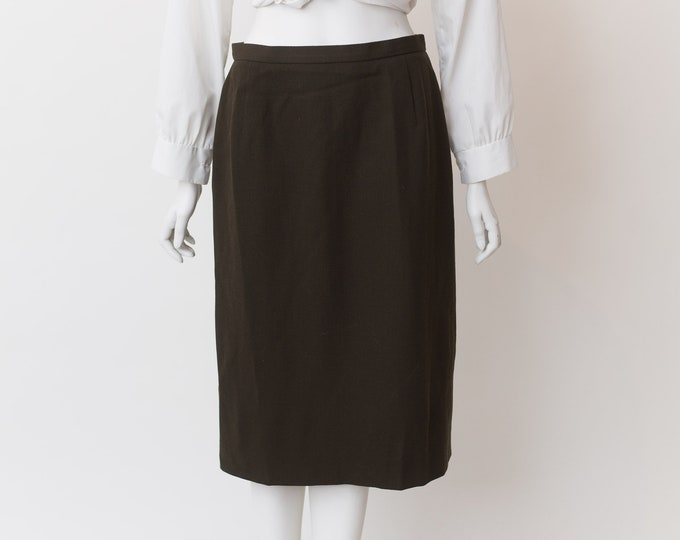 "Vintage Brown Skirt - 29"" Waist Medium Size wool Skirt - Earth tone straight cut Spring or Summer Hippie Office Casual Skirt"
