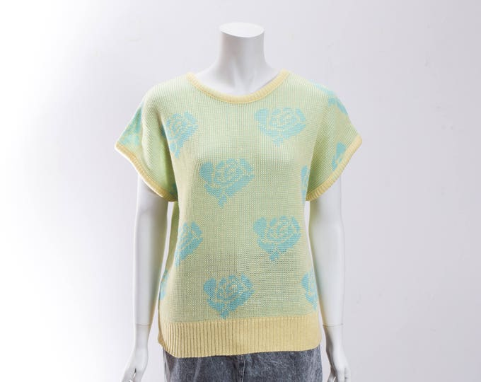 Vintage Pastel Sweater /Medium 90's Yellow with Blue Flowers Acrylic Knit Sweater by Excelsior