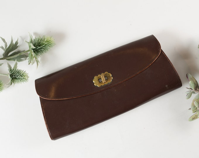 Vintage Brown Clutch with Brass Hardware - Women's Leather Wallet - Purse - Prom Purse -Mother's Day Gift