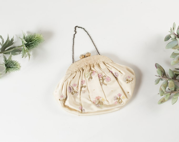 Vintage Floral Purse - Women's Flower Cream Fabric Purse with Beaded Flowers - Ornate Hippie 50's Style Bag - Prom Purse -Mother's Day Gift