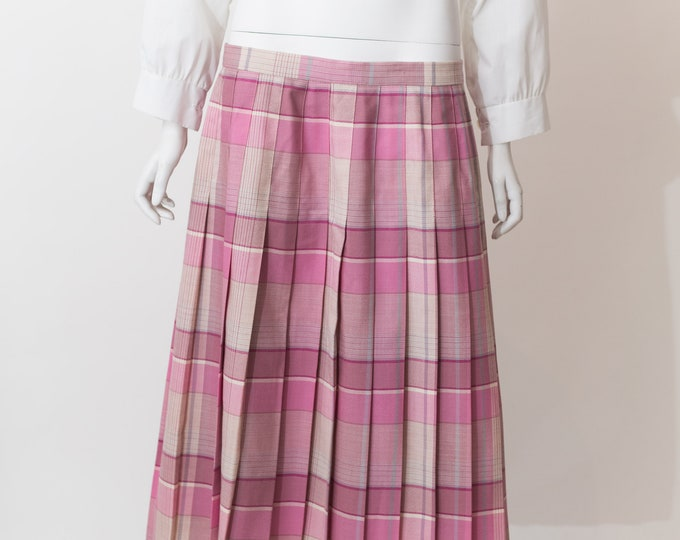 "Vintage Plaid Skirt - 28"" High Waisted Pink Checkered Wool Skirt - Spring Summer Hippie Flower Child Coachella Music Festival Skirt"
