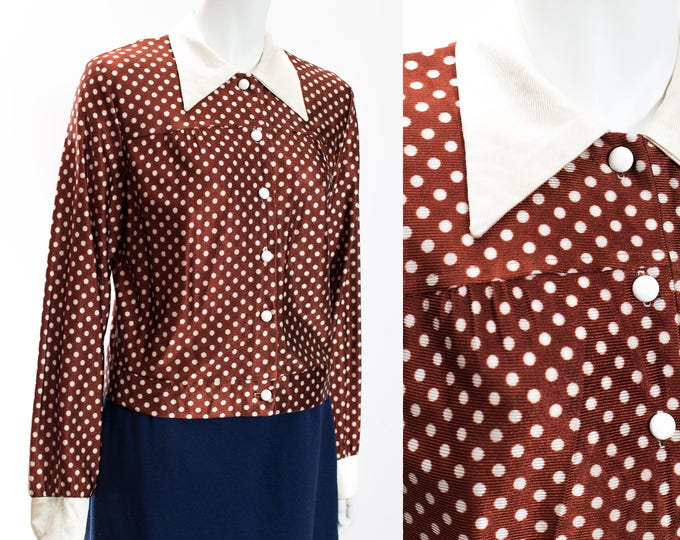 Vintage Polka Dot Blouse / Brown PolkaDot Women's Ladies Long Sleeve Shirt with Pointed White Collar and Buttons