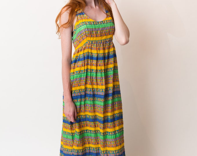 Vintage Hawaiian Dress - Sleeveless Tropical Summer Dress with Bright Bold Geometric Stripe Pattern