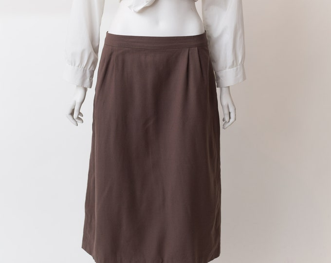 "Vintage Brown Skirt - 28"" Waist Medium Size wool Skirt - Earth tone straight cut Spring or Summer Hippie Office Casual Skirt"