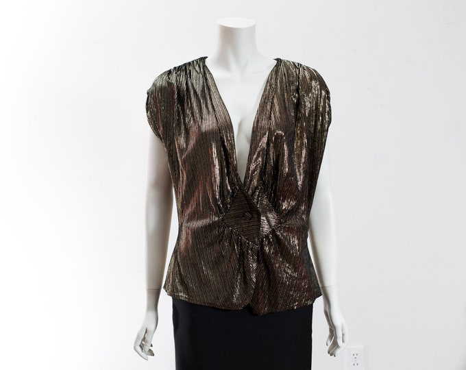 Vintage Gold Shirt - Shiny Metallic Bronze Coloured Marilyn Monroe/  Rockstar Shirt - 1980's Style