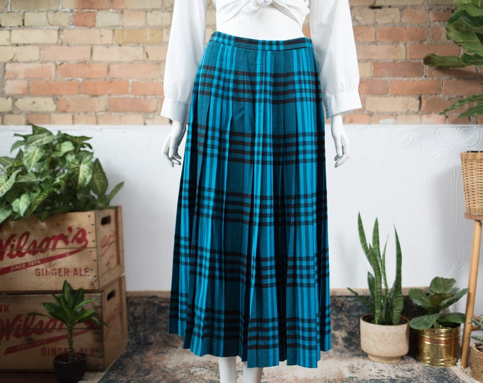 "Vintage Plaid Skirt - 30"" Scottish Style Long Blue and Black Tartan Spring Summer Preppy Pleated Wool Kilt - Made by Jaeger"