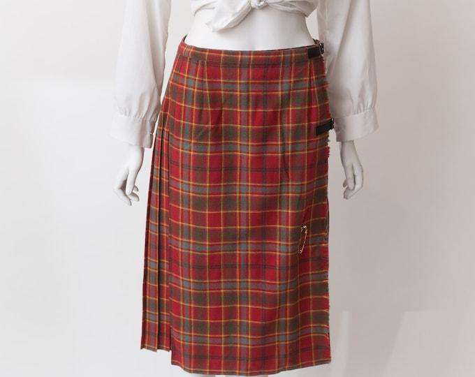 "Vintage Tartan Kilt - 29"" High Waisted Red Plaid Checkered Wool Skirt - Spring Summer Hippie Flower Child Coachella Music Festival Skirt"