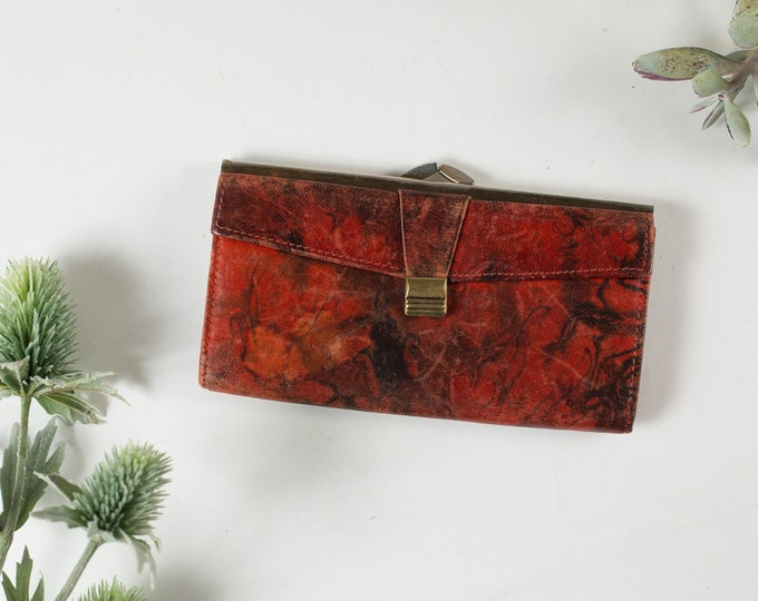 Vintage Red Marbled Leather Clutch with Brass Coloured Hardware - Women's Leather Folding Wallet - Purse - Prom Purse -Mother's Day Gift
